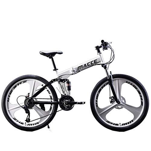 Lefthigh Folding Mountain Bikes,24in Folding Mountain Three-Knife Wheel Bike 21 Speed Bicycle Full Suspension MTB Bikes for Man/Woman/Teen,White -  Lefthigh-29