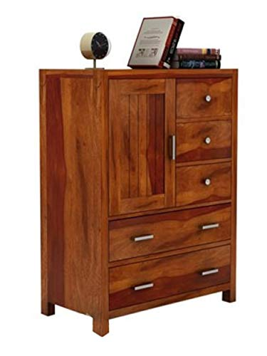 Woodstage Sheesham Wood Chest of Storage Drawers and 1 Cabinet for Home Living Room Hall (Honey Finish)