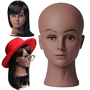 NEWSHAIR Bald Famale Mannequin Head with Eyelash Training Head Wig Head Professional Cosmetology for Wig Making and Display Hat Helmet Glasses or Masks Display Head Model with Free T-Pins  Dark Brown
