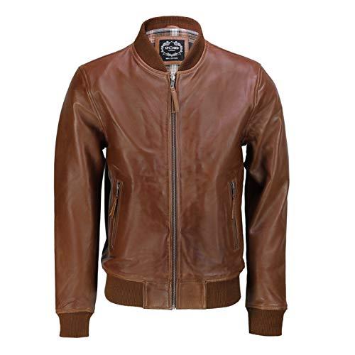 Xposed Chaqueta para hombre de piel auténtica, elegante, casual, estilo bomber, estilo motociclista - Marrón y negro