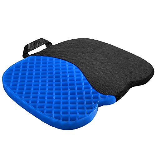GENERAL ARMOR Gel Seat Cushion - Relieves Sciatica and Coccyx Pain - for Car, Office Chair, Wheelchair, or Home (Cushion Blue Cat 1.2 INCH)