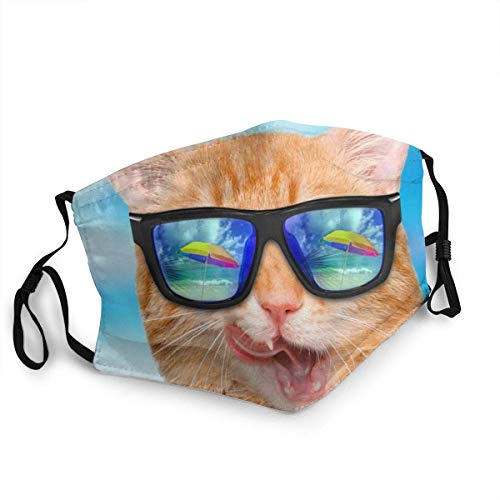 LY88 Cubierta bucal a Prueba de Polvo para Adultos, Gato Divertido con Gafas de Sol, Orejeras Ajustables para la Playa, Cubierta Facial Reutilizable a Prueba de Viento para Mujeres y Hombres