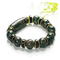 CHHNGPON Armbänder Dzi Perle Armband Männer und Frauen Natural Chalcedon Armband Ethnische Art Tibetan Retro Authentic Threed Wenwan (Metal Color : A)