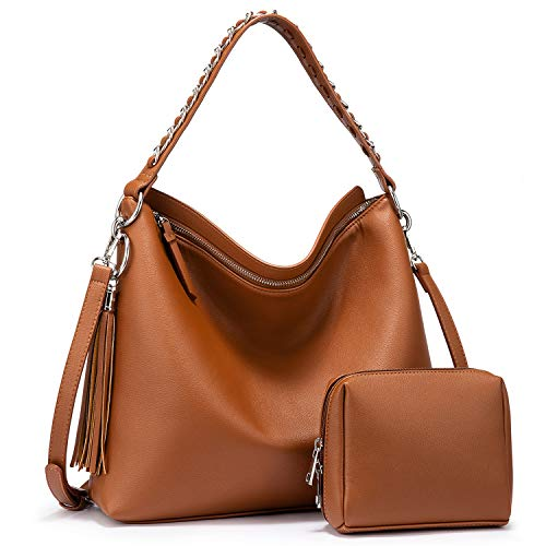 Hobo Bags for Women Faux Leather Purse Large Crossbody Bag with Tassel Designer Handbags Brown