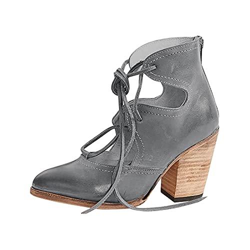 Sandalias de tacón gruesas y puntiagudas para mujer, modernas, de boca, profundas, con cordones, de tacón, gruesas, para oficina, marcha, retro, para primavera., gris, 36 EU