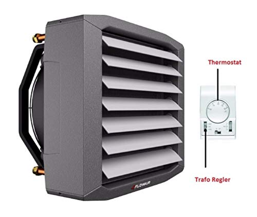 Lufterhitzer 0,7 bis 12,8 kW EUROVENT getestet Drehzahltraforegler Thermostat Heizregister Luftheizung Hallenheizung