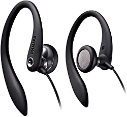 Philips SHS3300BK / 10 In-Ear Wired Earphones with Cable (Sports Headphones, Powerful Sound, Bass Beat Openings, Comfort Earpads, Ergonomic Ear Hooks, Asymmetrical Cable System) Black