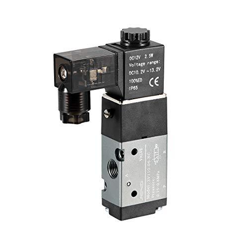 sourcing map 3V110-06 Luftventil NC elektrisches Magnetventil DC12V 3 Wege 2Position 1/8