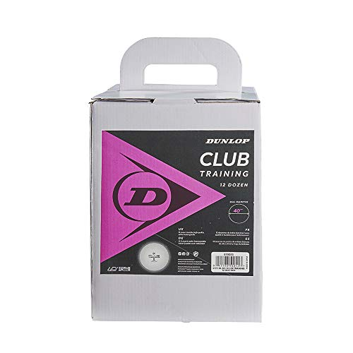 Dunlop Club Training 144 - Pelotas de Ping-Pong, Color Blanco, Caja de 144 Unidades, para Entrenamiento, Principiantes y Jugadores avanzados