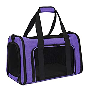 EOOORL Cat Carriers Dog Carrier Pet Carrier for Small Medium Cats Dogs Puppies of 17 Lbs, TSA Airline Approved Small Dog Carrier Soft Sided, Collapsible Puppy Carrier Purple