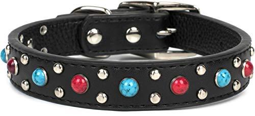Puccybell HB001 hondenhalsband met spijkers en edelsteenparels, versierd voor kleine, middelgrote en grote honden, Taille M: 28-36cm, zwart.