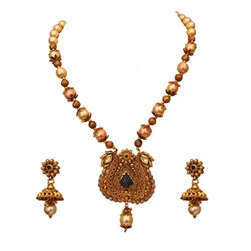 JewelryGift Juego de collar de diseo simple con pendientes Jhumki chapados en oro de 18 quilates con perlas y tachuelas de esmeralda, juego de joyera de boda tradicional para esposa y hermana