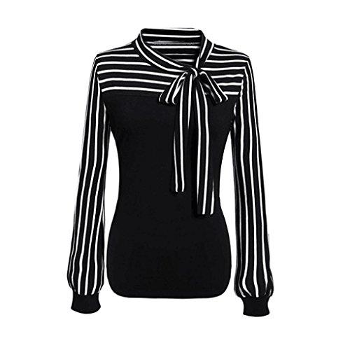 TOPUNDER 2018 Women Tie-Bow Neck Shirt Striped Long Sleeve Splicing Blouse Black