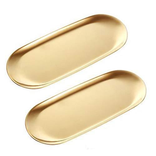 ANZOME 2 Stück Goldene Platte Serviertabletts Buffet Platte Schmuckständer Aufbewahrung Dekoration - Oval Groß Gold