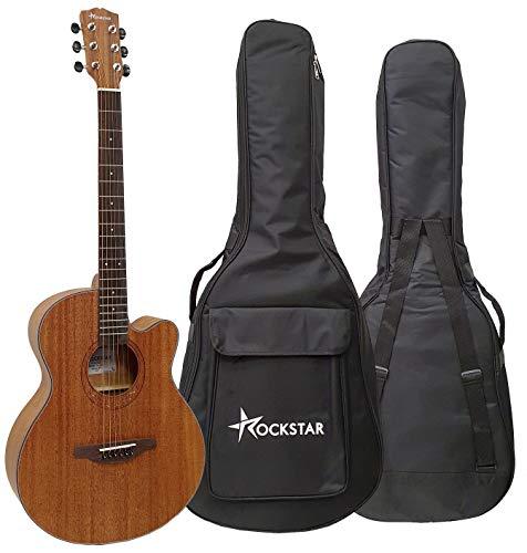 Guitarra acústica folk forma auditorium Rockstar SA-4022 SN con cutaway cuerdas metálicas y funda - rockmusic