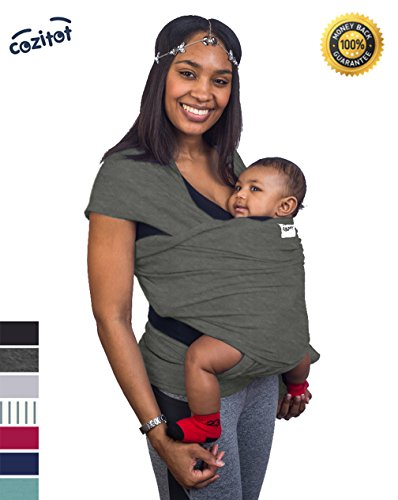 Slate Grey Baby Sling Carrier Wrap by Cozitot   Stretchy All Cloth Baby Carrier   Baby Wrap Sling   Small to Plus Size Baby Sling   Nursing Cover   Best Baby Shower GIF