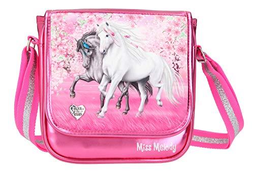 Depesche 11427 Kleine Umhängetasche für Mädchen im Miss Melody Cherry Blossom Design in pink, ca. 20 x 20 x 6,5 cm, mit verstellbarem Tragegurt und Magnetverschluss