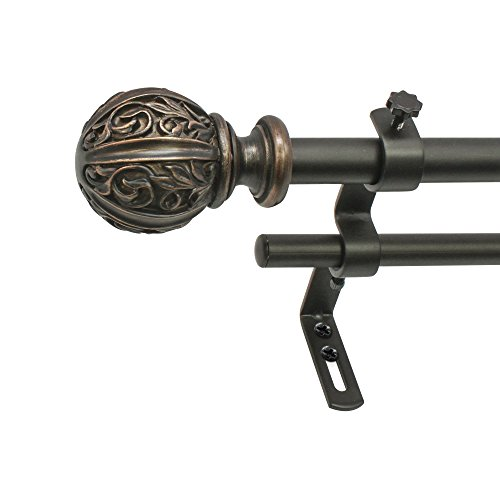 "Decopolitan 30039-48VB Leaf Ball 5/8"" Double Curtain Rod Set, 48 to 86 Inches, Vintage Bronze"