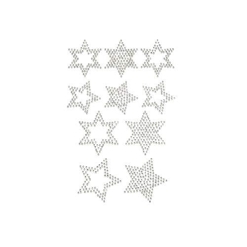 Oblique Unique® 10 Stern Sticker Strass Steine zum Verzieren Aufkleben für Weihnachten Rot Silber Gold oder Grün - Farbe Wählbar (Silber)