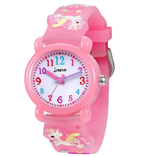 Armbanduhr für Kinder Jungen und Mädchen, 30M wasserdichte Analog Quarzuhr, 3D Cute Cartoon Uhr, Digitale Kinderuhr, Teaching Handgelenk Uhren mit Silikon Armband (Einhorn)