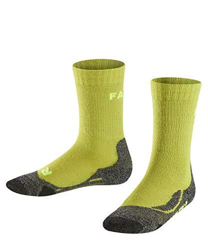 FALKE Kinder TK2 Trekking Socken, wadenlange Wandersocken mit Merinowolle für Mädchen und Jungen, 1 er Pack, Grün (Lime 7601), 31-34 (7-9 Jahre)