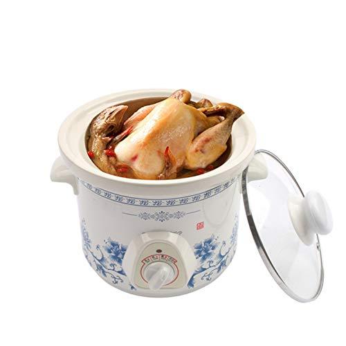 TBAO 1,5 L Elektro Mini Slow Cooker Eintopf Suppe Brei Gesundheit Topf Zeitsteuerung Keramik Lebensmittel Kochmaschine Mahlzeit Dampfgarer (Color : Blue)