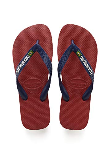 Havaianas Men's Brazil Logo Flip Flop Sandal, Red, 41/42 BR (11-12 M Women's/9-10 M US Men's)