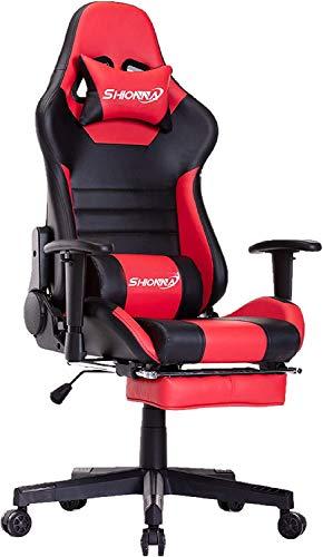 SHIONNA Sedia Gaming Gioco Sedie da Ufficio Girevole Ergonomica Poggiapiedi Retrattile Poltrona di PU Gaming con Poggiapiedi (Red)