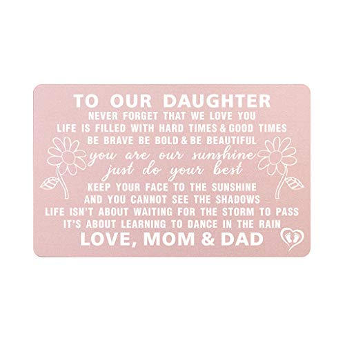 To Our Daughter Gifts from Mom and Dad, Inspirational Gift for Daughter from Parents, Engraved Metal Wallet Card Inserts,Love Note, Daughter Wedding Day Gifts