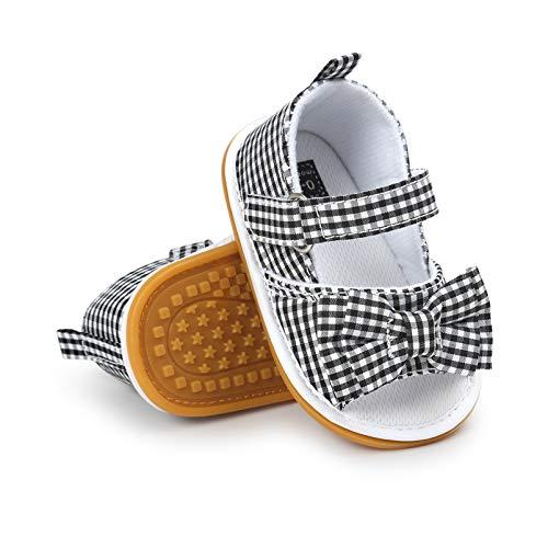 Sandálias para meninos e meninas com sola de borracha para o ar livre primeiro andador infantil meninos e meninas tênis de verão, A-black Plaid, 9-12 Months Infant