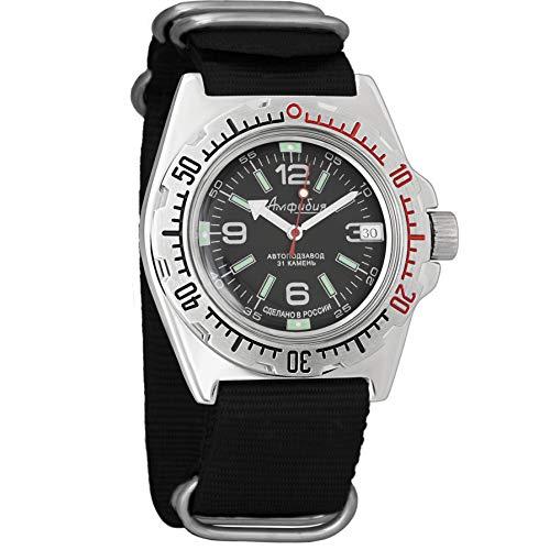 Vostok Amphibian Scuba Dude Automatic Mens Wristwatch Self-Winding Military Diver Amphibia Ministry Case Wrist Watch #640 (110640: Black)