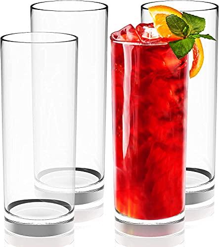 PEJULI Highball - Juego de 4 vasos altos de 350 ml de vidrio de cóctel sin plomo, cristal de bourbon o whisky, bar, té helado, agua, mojito y Tom Collins (4)