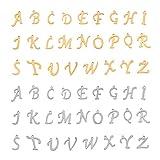 UNICRAFTALE 52 Uds 2 Colores Encantos del Alfabeto de Acero Inoxidable Metal AZ Letra Cuelga Encantos Colgantes Hipoalergénicos