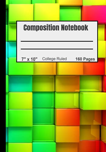 """Composition Notebook: Red Orange Cubes Design- College Ruled, 160 pages (80 sheets), Large 7""""x10"""" (17.78cm x 25.4cm)"""