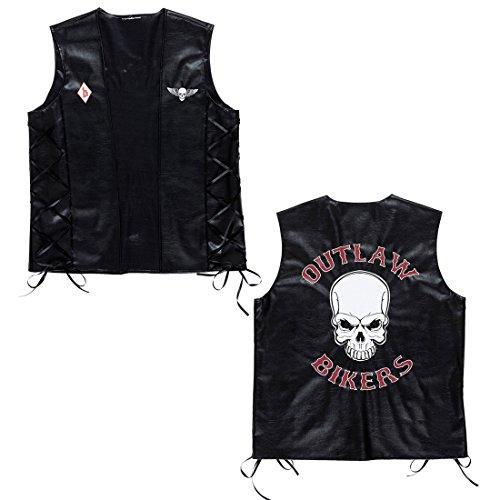 NET TOYS Biker Weste Rocker Lederweste XL 54 Totenkopf Bikerweste Motorrad Rockerweste Gothic Skull Motorradweste Hardrock Kunstlederweste Karneval Kostüm Zubehör