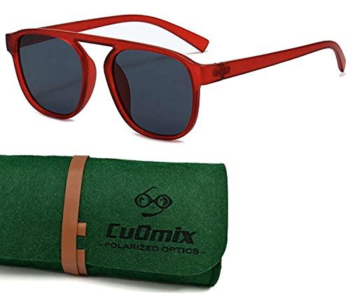 CuOmix Sonnenbrille im neuen Stil Damen, Polarisiert UV400 XNSG4 (Rot · Grau)