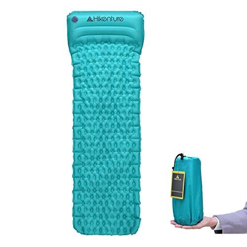 Camping Isomatte Kleines Packmaß von HikentureTM - Ultraleichte Aufblasbare Isomatte mit Kissen - Sleeping Pad Luftmatratze für Camping, Reise, Outdoor, Wandern, Strand (Grün)