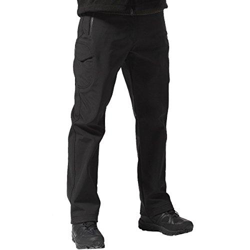 FREE SOLDIER Men's Outdoor Softshell Fleece Lined Cargo Pants Breathable Waterproof Windproof Tactical Warm Snow Ski Hiking Pants (Black 34W x 30L)