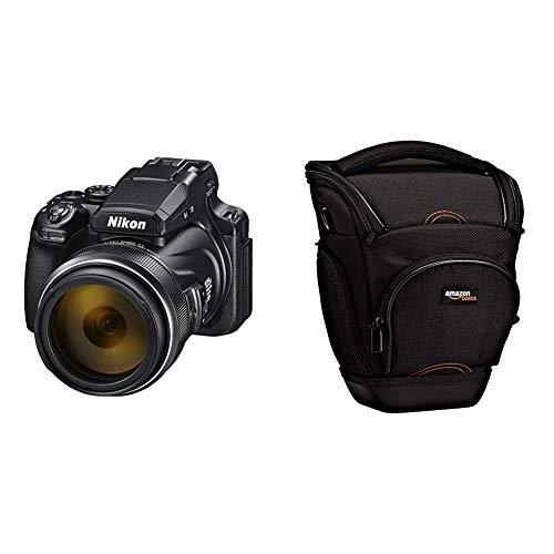 "Nikon COOLPIX P1000 - Cámara compacta Tipo Bridge (16 MP, Pantalla de 3.2"") Color Negro & Amazon Basics - Funda para cámara de Fotos réflex, Color Negro"