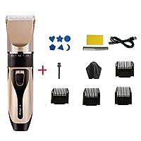 バリカン 男性用,すべての-インチ-1 つ ヘアカットキット,調整可能な速度 低ノイズ 理髪の毛のクリッパー,ヘアカットキット 4ガイドコーム付き ゴールド