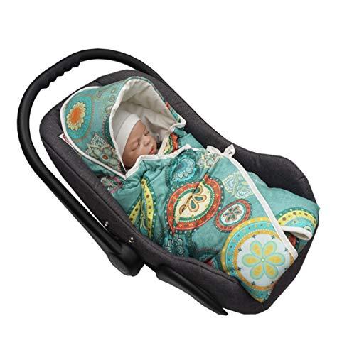 MoMika Premium Velvet Mandala Unisex Einschlagdecke   Wickeldecke   Babyschlafsack   Babydecke für Buggy oder Autositz   Wickeldecke mit Kapuze (Green)