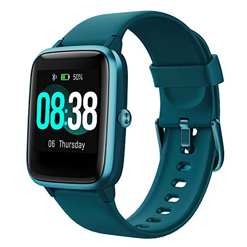 YONMIG Smartwatch, Fitness Armband Tracker Voller Touch Screen Uhr IP68 Wasserdicht Armbanduhr Smart Watch mit Schrittzähler Pulsmesser Stoppuhr für Damen Herren Sportuhr für iOS Android (Blau)