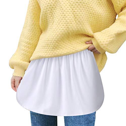 Vectry Damen Kurzer Rock Einstellbare Schichtung Fake Top Sweep Hem Mini Skirt Shirt Extender Rock Halblang Splitting A Version High Waist Skirt with Buttons(B-Weiß,S)