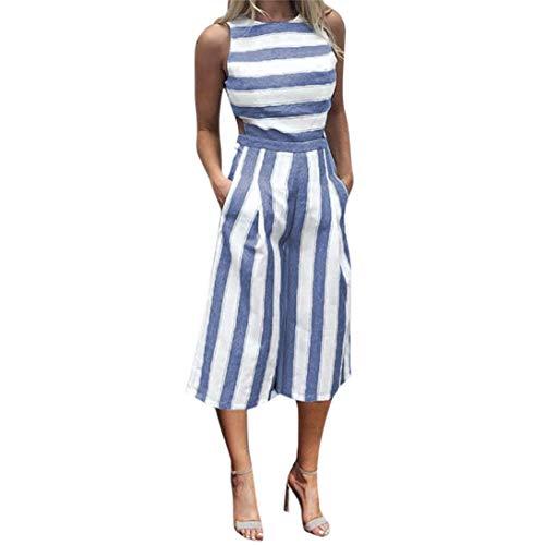MRULIC Damen Striped Jumpsuit Lässige Clubwear Breites Bein Hosen Outfit (EU-36-40/CN-L, Y-Blau)