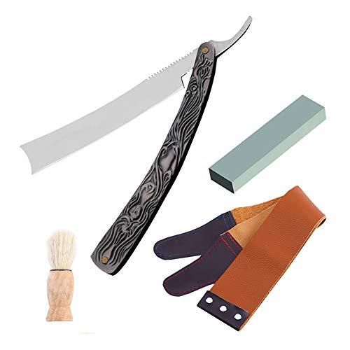 DGYAXIN Navaja Afeitar Barbero, Navaja Afeitar Barbero Profesional, Kit de Afeitado y Cuidado de Contorno de Barba Hombre,Black,11.5cm*16cm