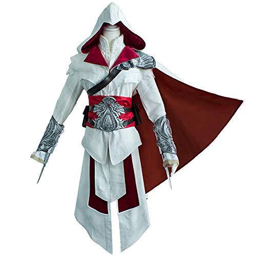MSSJ Creed Ezio Auditore Disfraz de Cosplay Set Hombres Adultos Fiesta de Halloween Cos Ezio Disfraz de Cosplay con Accesorios M Conjunto de Ropa