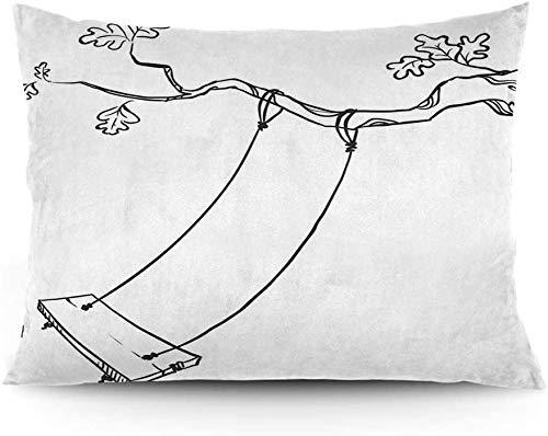 Keyboard cover Funda de cojín con diseño de hojas esbozadas, con un columpio y palabras de alegría en el jardín parque infantil, funda de cojín impresa, 40,6 x 50,6 cm