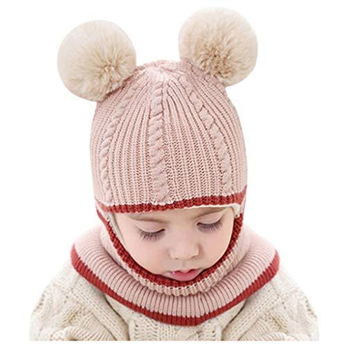 YULAND Mütze Strickmütz Winter Warm Hüte Beanie Für Baby Mädchen Jungen - Kid Baby Boy Girl Mit Kapuze Schal Caps Hut Winter Warme Strick Flap Cap Schal (Beige)