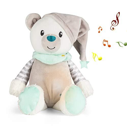 Chupetes para dormir para bebés,juguete de ayuda para dormir para bebés.Luz de noche para dormir para niños pequeños, 10 canciones de cuna reconfortantes (Oso)