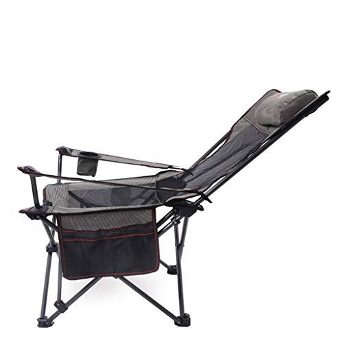 LOVEPET Silla de Pesca Plegable de Uso Doble para Exteriores, Silla para el Almuerzo, Silla de Playa, sillón, sillón, Capacidad de Carga máxima 150 kg, 108X56X74cm Black